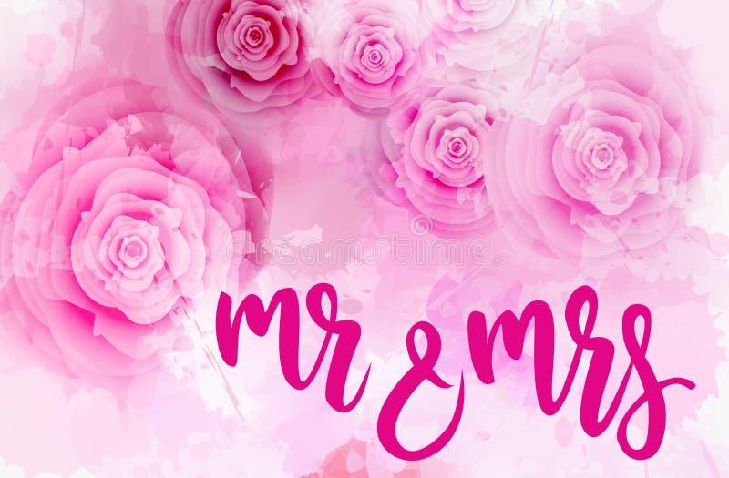 Herr & fru som gifta sig bakgrund vektor illustrationer