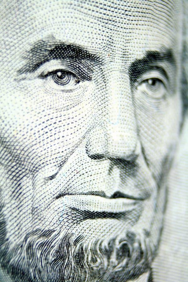 Herr Lincoln ziert Fünfdollarschein lizenzfreie stockfotos