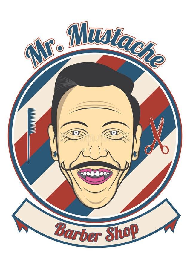 Herr Mustache Barber Shop royaltyfria bilder