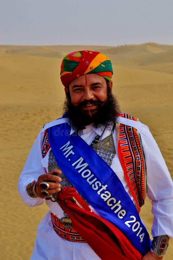 Herr Mustaschökenfestival Jaisalmer royaltyfri bild