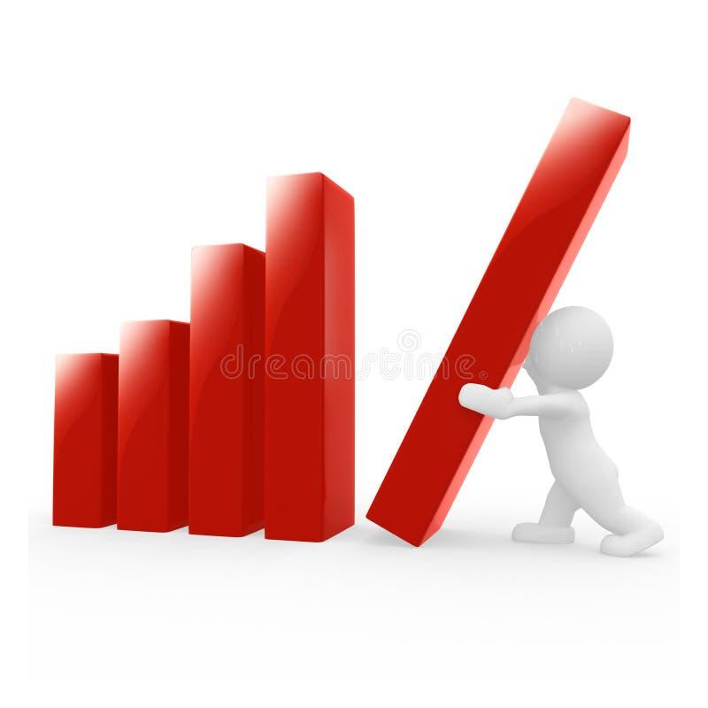Herr Smart Guy arbeitet mit der Statistik lizenzfreie abbildung