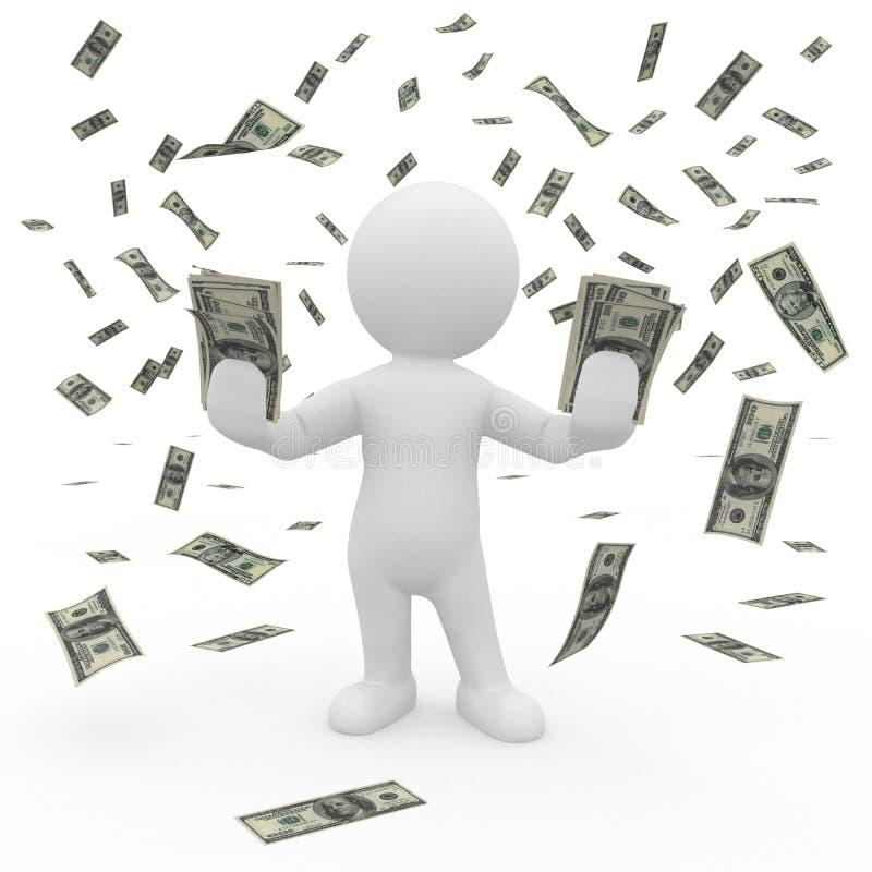 Herr Smart Guy i ett regn av pengar royaltyfri illustrationer