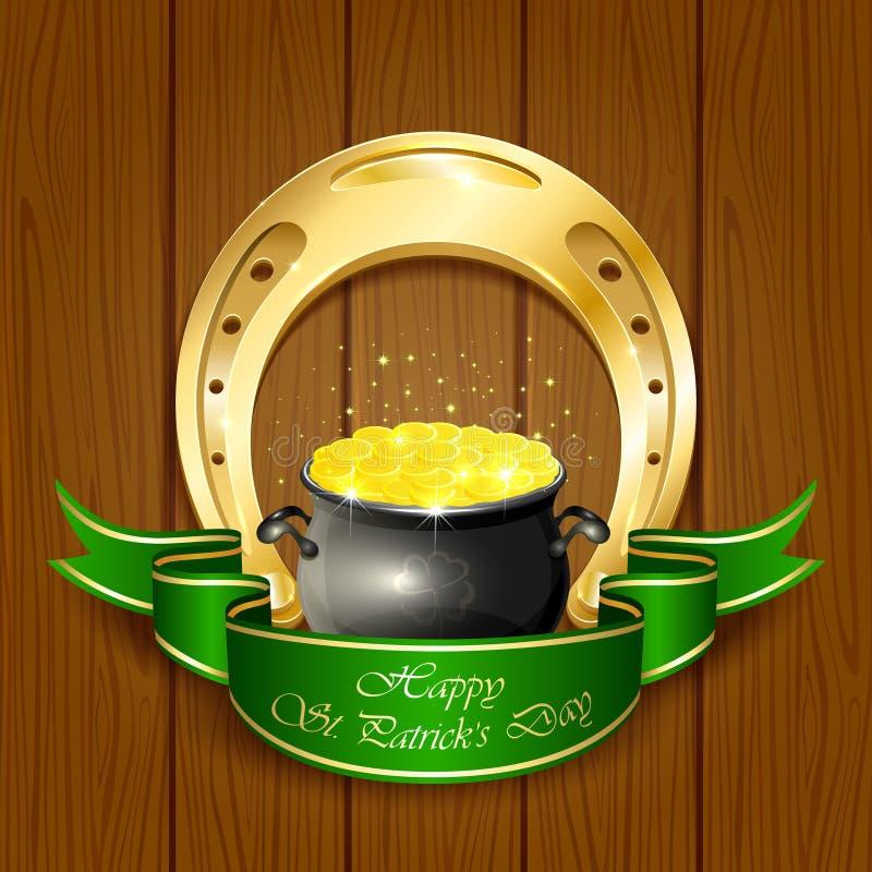 Herradura y pote con las monedas de oro stock de ilustración