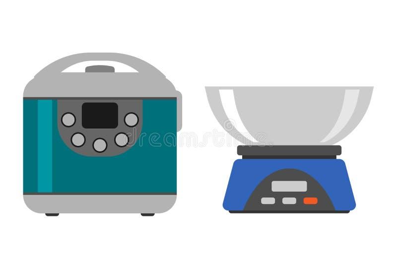 Herramienta casera de la medida del instrumento del peso que cocina el equipo casero de la cocina y el hogar plano del estilo que ilustración del vector