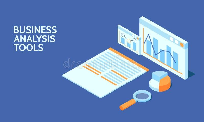 Herramienta de análisis de negocio para la bandera del web Análisis de datos Elemento de Infographic stock de ilustración