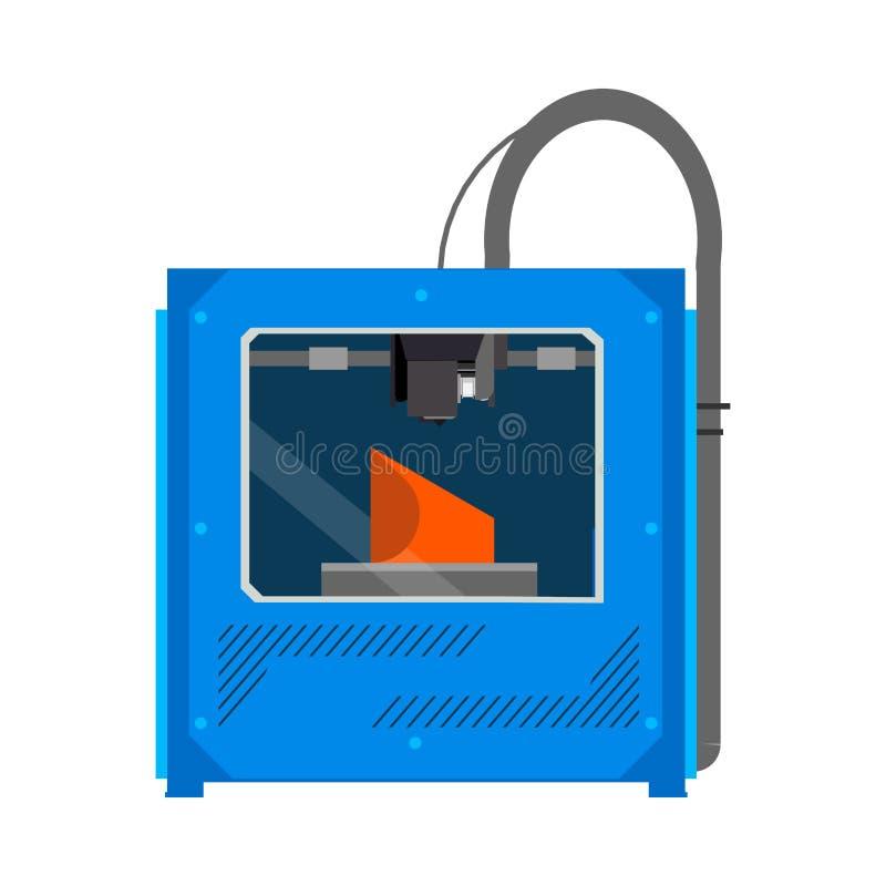 herramienta de la innovación del objeto del dispositivo del equipo de la impresora 3D Icono plano del vector ilustración del vector
