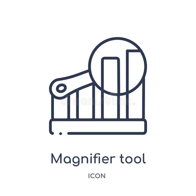 herramienta de la lupa en icono del interfaz de la posición vertical de la colección del esquema de la interfaz de usuario Línea  libre illustration