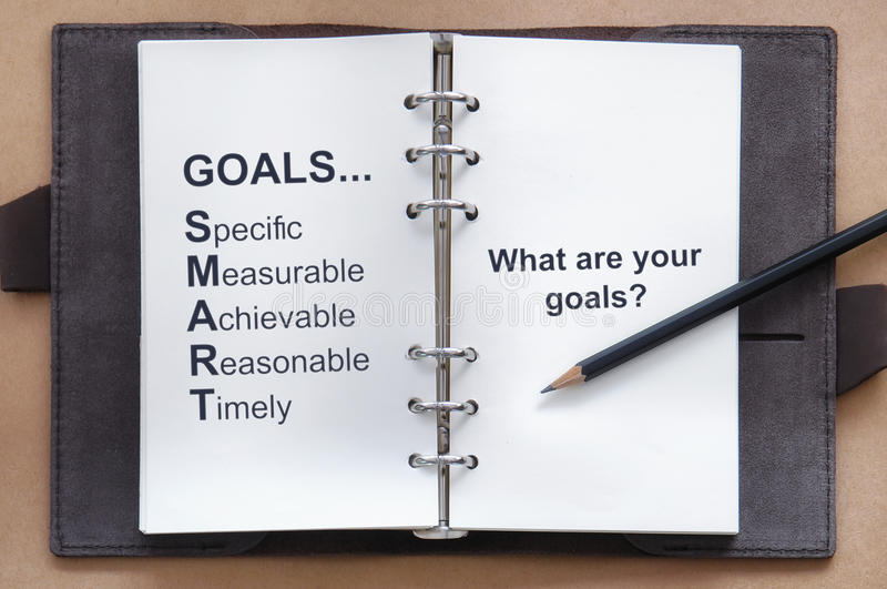 Herramienta de la meta del ajuste y cuáles son sus palabras de las metas en el libro del organizador con el lápiz fotografía de archivo libre de regalías