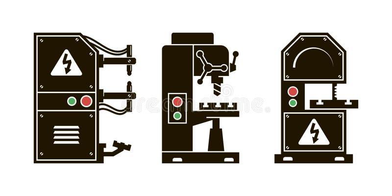 Herramienta de máquina iconos del vector del negro ilustración del vector