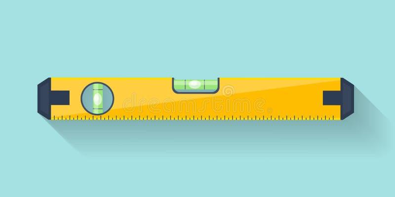 Herramienta del nivel de burbuja de aire en un estilo plano Regla Edificio y equipo de la ingeniería medida Ilustración del vecto libre illustration