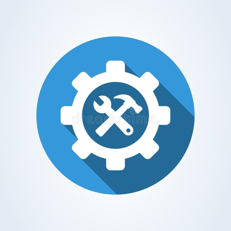 Herramienta del servicio del martillo y de la llave, ejemplo moderno del diseño del icono del vector simple libre illustration
