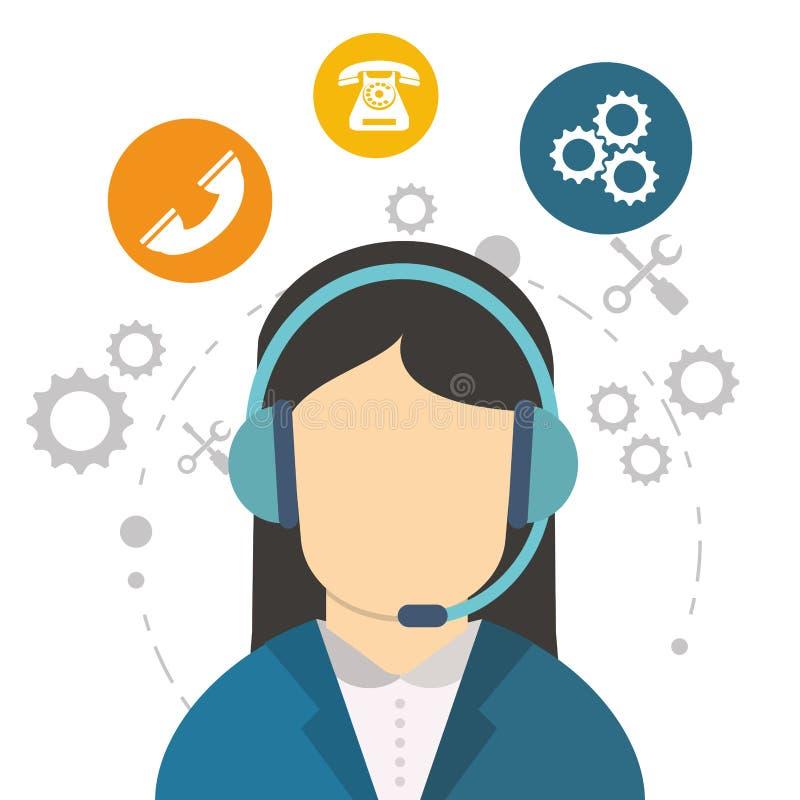 Herramienta del trabajo de la comunicación del centro de atención telefónica del carácter stock de ilustración