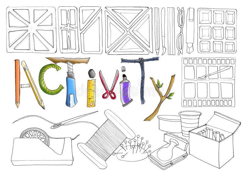 Herramienta inmóvil y de costura de la actividad ilustración del vector