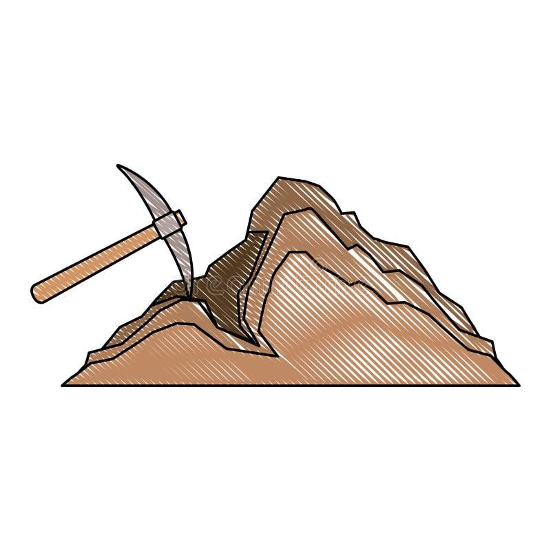 Herramienta minera de la selecci?n con la mina ilustración del vector