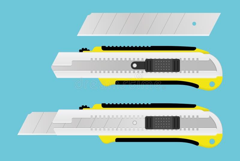 Herramienta realista de Boxcutter Cuchillo de papel y cuchilla de la oficina Instrumento de los efectos de escritorio para el cor ilustración del vector