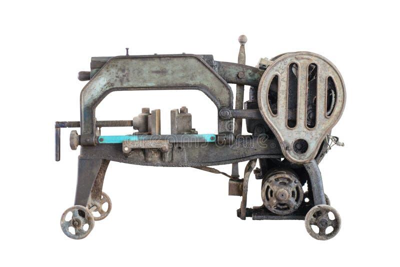 Herramienta sucia vieja de la industria de la máquina de la sierra para metales Aislado fotos de archivo libres de regalías