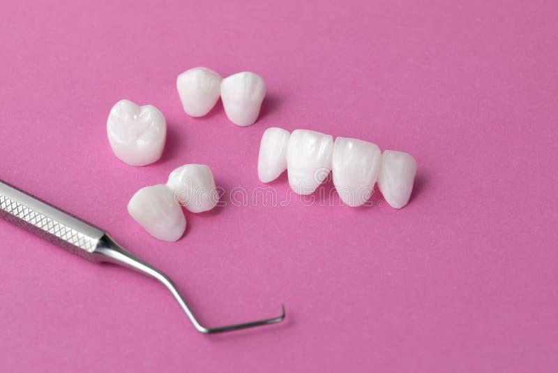 Herramienta y dentaduras dentales en un fondo rosado - chapas de cerámica del Zircon - lumineers imagenes de archivo