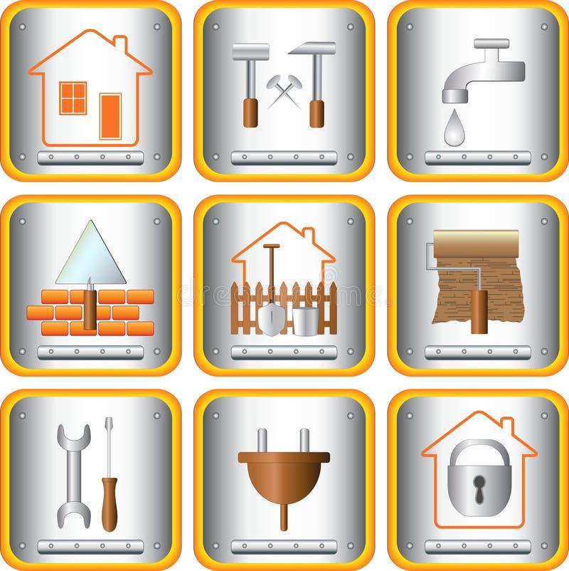 Herramientas útiles determinadas para la casa y el jardín stock de ilustración