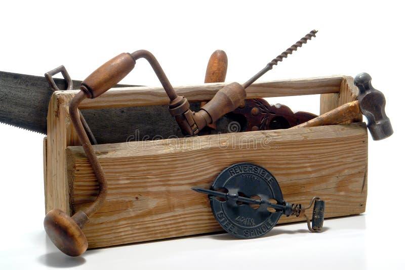 Herramientas antiguas en una caja de herramientas vieja de la vendimia imagen de archivo