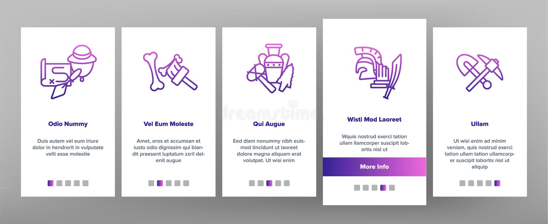 Herramientas arqueológicas y pantalla móvil de la página del App de Onboarding del vector de las excavaciones stock de ilustración
