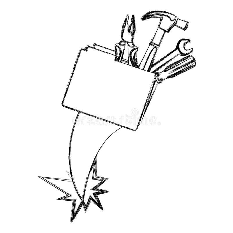herramientas borrosas de la carpeta y de la mano de la silueta libre illustration