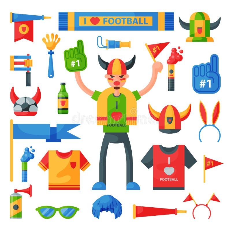 Herramientas coloreadas de los accesorios del carácter del deporte del hombre de la piel de ante del hincha de la cualidad del af stock de ilustración