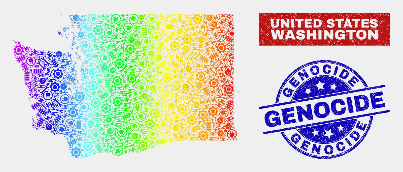 Herramientas coloridas Washington State Map y sellos del sello del genocidio del Grunge stock de ilustración