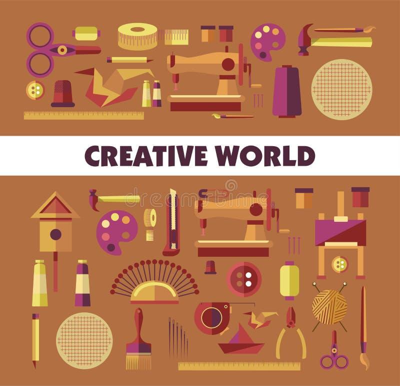 Herramientas creativas de la artesanía del mundo y afición o arte del equipo stock de ilustración