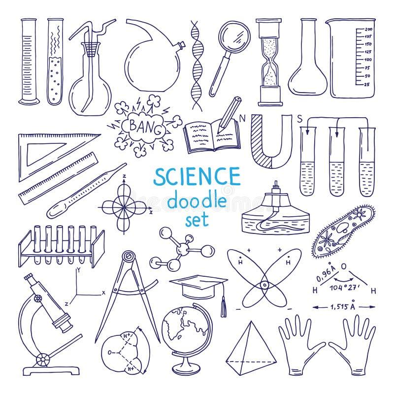 Herramientas de ciencias aisladas en blanco Equipo de la tecnología, clase de Biología Ilustraciones drenadas mano ilustración del vector