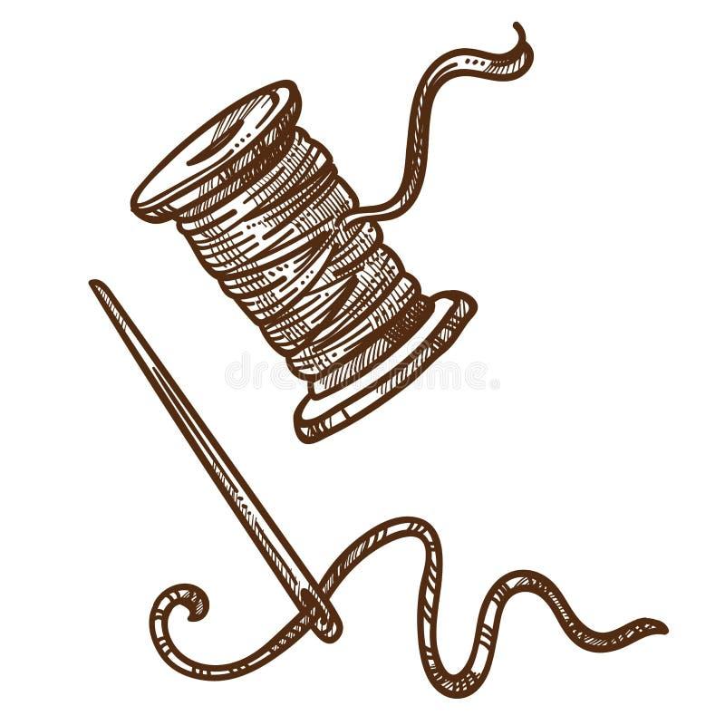 Herramientas de costura aisladas bobina del bosquejo de la aguja y del hilo ilustración del vector