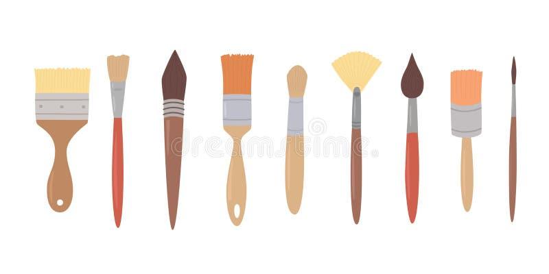 Herramientas de dibujo, brochas determinadas en fila en el fondo aislado blanco Materiales de pintura del artista stock de ilustración