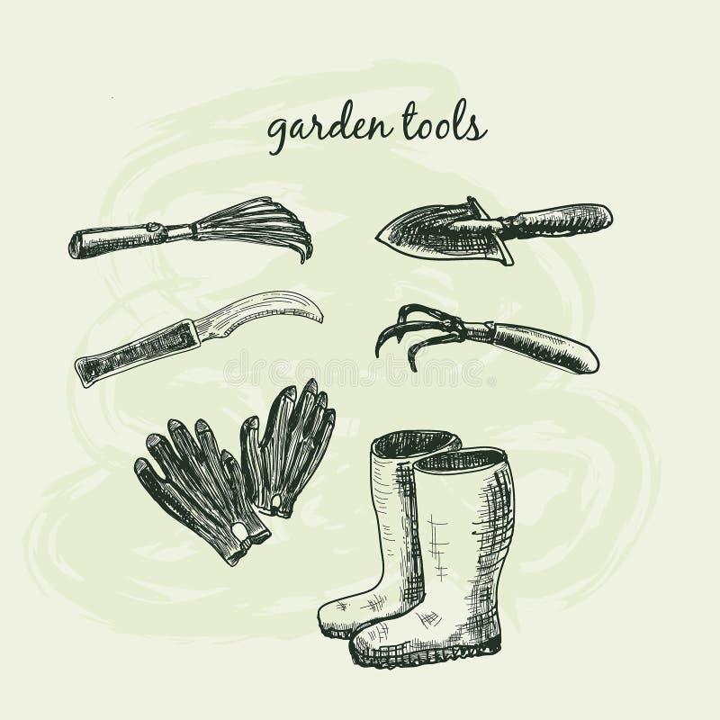 Herramientas de jardín stock de ilustración