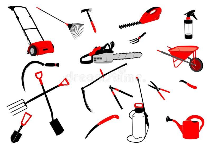 Herramientas de jardín coloreadas ilustración del vector