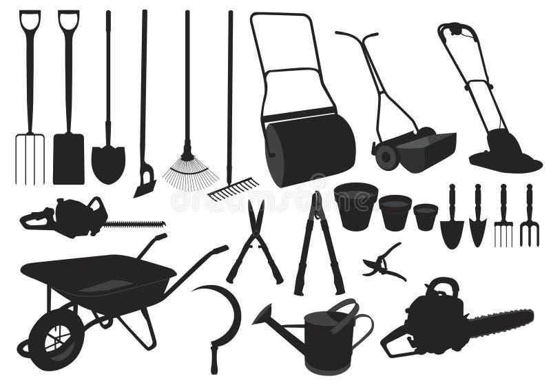 Herramientas de jardín de la silueta ilustración del vector
