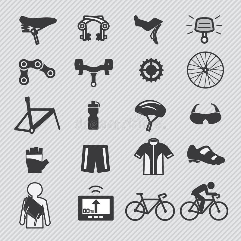 Herramientas de la bici e icono de la pieza del equipo ilustración del vector
