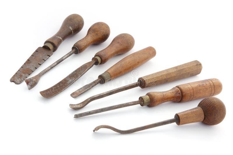 Herramientas de la carpintería de la vendimia fotos de archivo