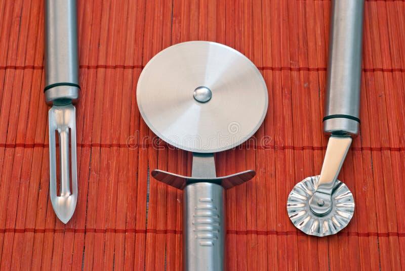 Herramientas de la cocina del acero inoxidable imagen de archivo libre de regalías