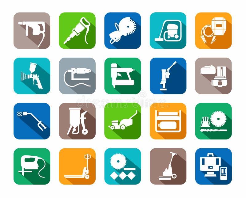 Herramientas de la construcción, materiales consumibles, iconos, coloreados, plano stock de ilustración