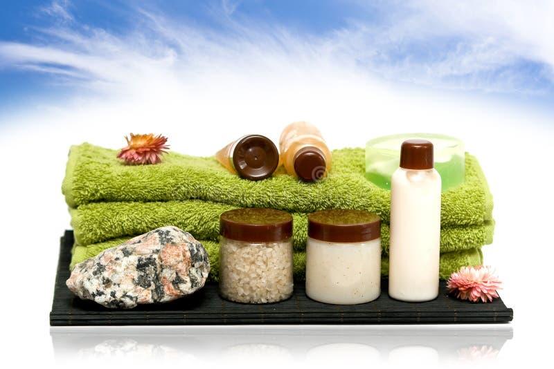 Herramientas de la higiene del balneario para el balneario foto de archivo libre de regalías