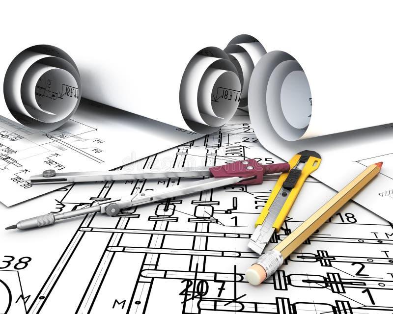 Herramientas de la ingeniería en los planes del dibujo ilustración del vector