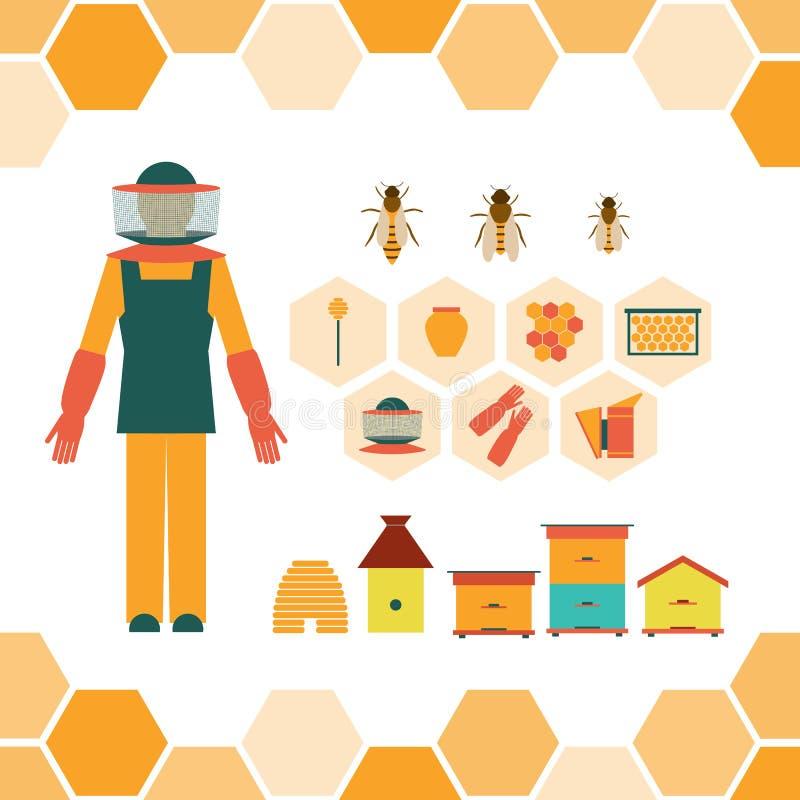 Herramientas de la mano del apicultor ilustración del vector