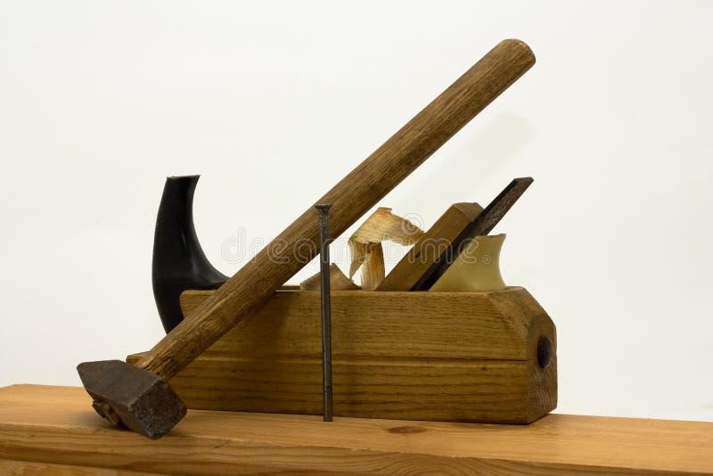 Herramientas de la mano del carpintero foto de archivo libre de regalías