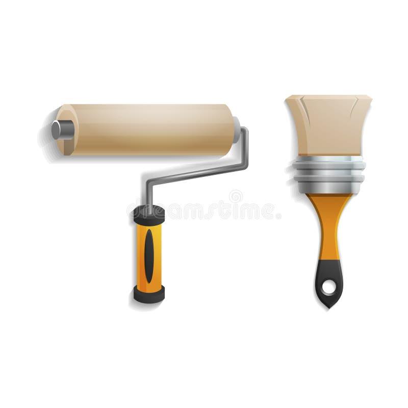 Herramientas de la mano para la reparación y la construcción Rodillo realista y brocha aislados en el fondo blanco libre illustration