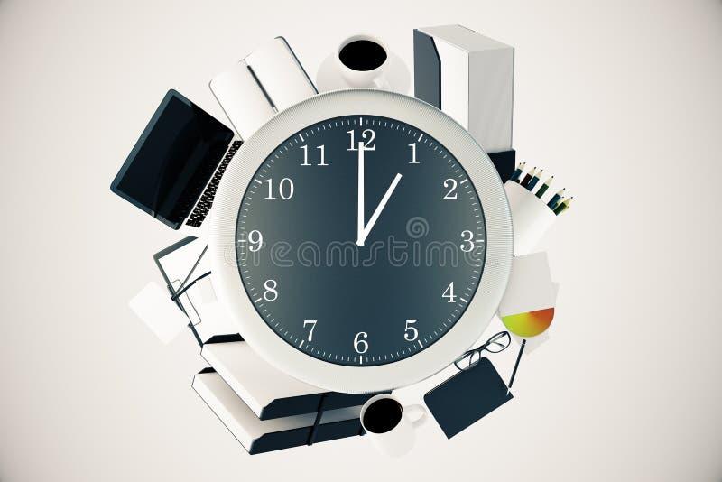 Herramientas de la oficina alrededor del reloj stock de ilustración