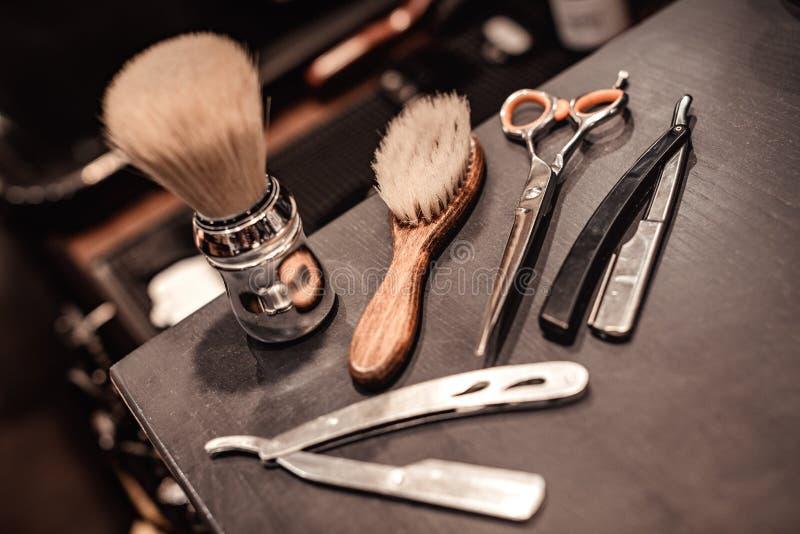 Herramientas de la peluquería de caballeros fotos de archivo