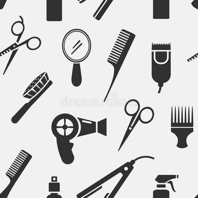 Herramientas de la peluquería de la silueta en modelo inconsútil stock de ilustración
