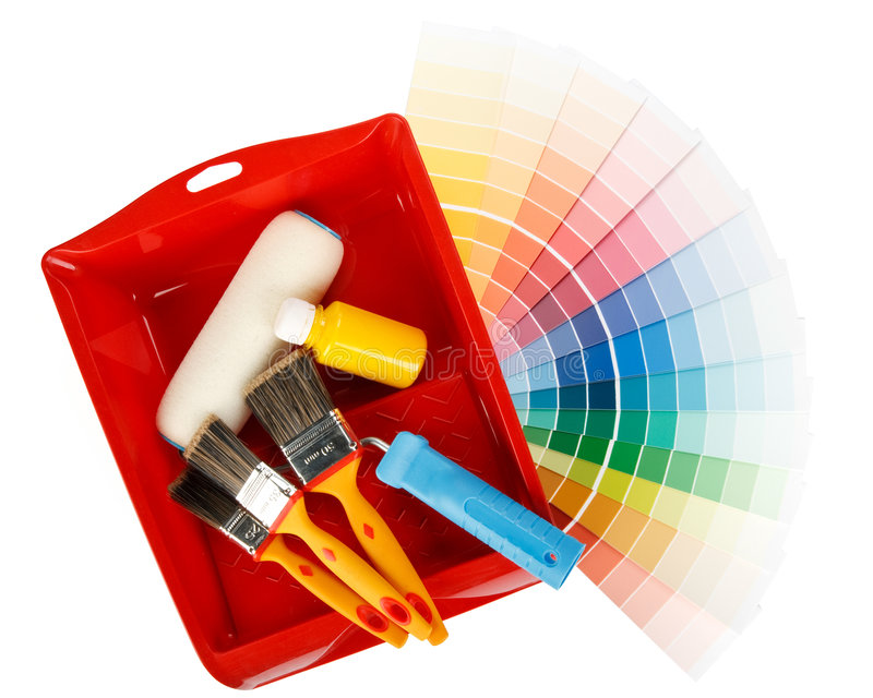 Herramientas de la pintura y guía del color imágenes de archivo libres de regalías