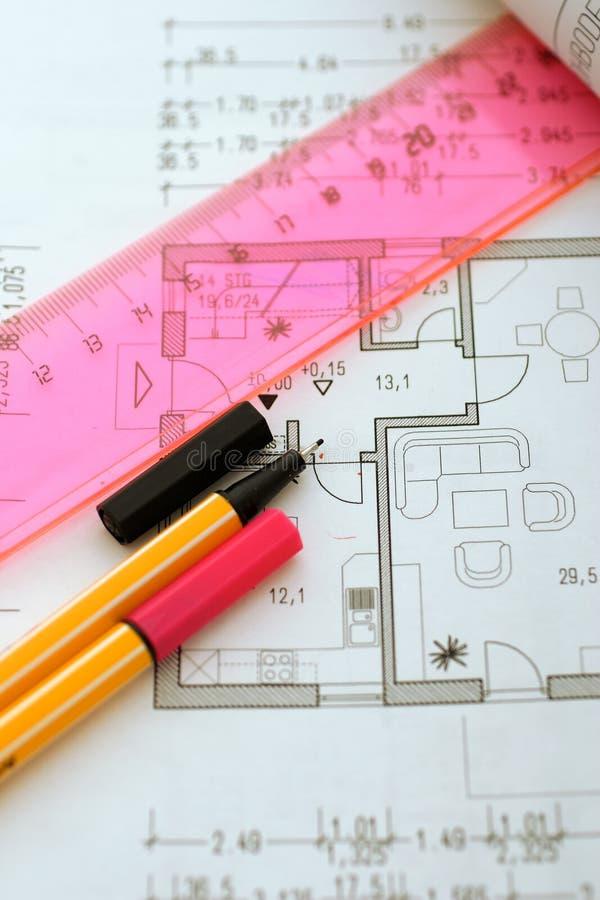 Herramientas de las hojas de operación (planning) en floorplan fotos de archivo libres de regalías
