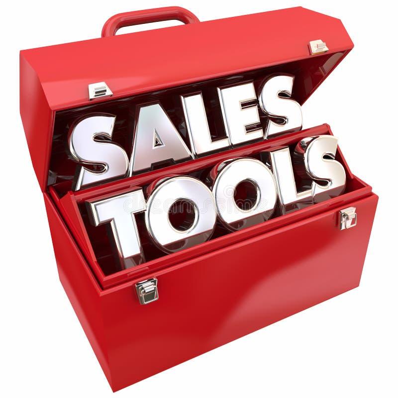 Herramientas de las ventas que venden palabras de la caja de herramientas de los recursos ilustración del vector