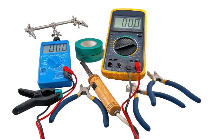 Herramientas de los electricistas foto de archivo